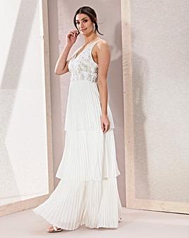 Joanna Hope Tiered Pleated Maxi Dress