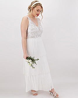 Joanna Hope Tiered Pleated Maxi Dress