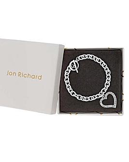 Jon Richard Heart Charm T Bar Bracelet