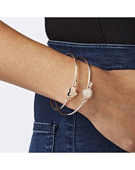 Lipsy Rose Gold Heart Bangle Pack Of 2