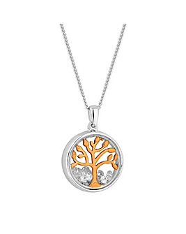 Sterling Silver 925 Two Tone Tree Of Life Shaker Pendant Necklace