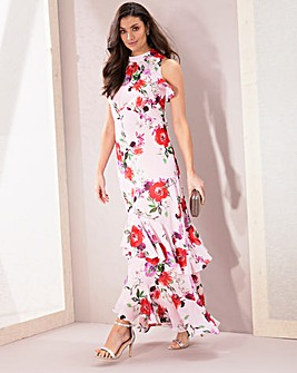 Joanna Hope Chiffon Frill Maxi Dress