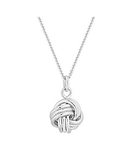 Sterling Silver 925 Polished Knot Pendant Necklace