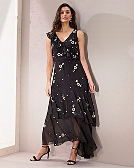 Joanna Hope Allover Embellished Frill Maxi Dress