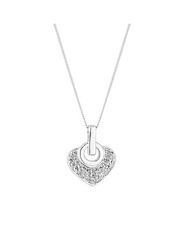 Simply Silver Pave Link Heart Necklace