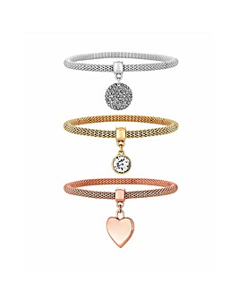 MOOD Tri Tone Charm Bracelet Pack Of 3