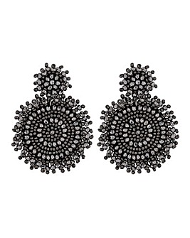 MOOD Black Jangle Disc Drop Earrings