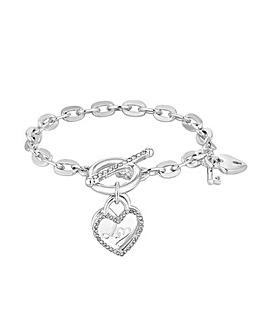 Lipsy Silver Plated Heart T Bar Bracelet