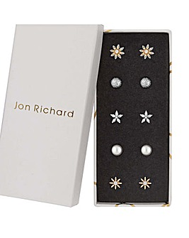 Jon Richard Gold Flower Earring Set