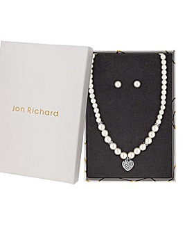 Jon Richard Faux Pearl Charm Pendant Set