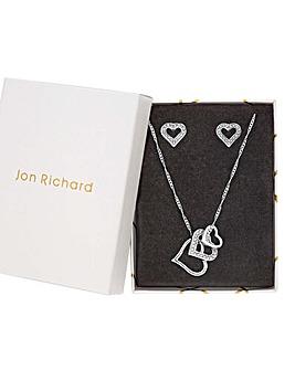 Jon Richard Pave And Polished Heart Set