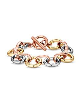 MOOD Tri Tone Link T Bar Bracelet