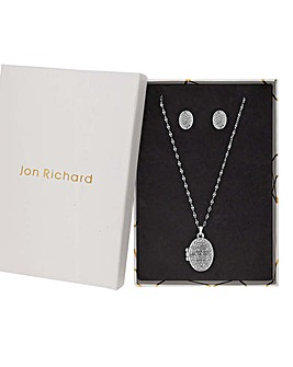 Jon Richard Pave Crystal Locket Set