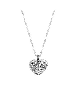 MOOD Silver Crystal Pave Heart Necklace
