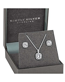 Simply Silver Halo Square Solitaire Set