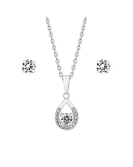 Simply Silver Halo And Solitaire Set