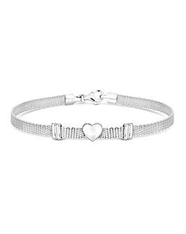 Sterling Silver 925 Polished Heart Mesh Bracelet