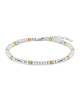 Simply Silver Two Tone Bead Bracelet