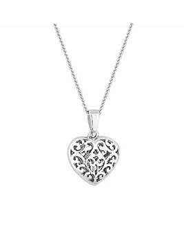 Sterling Silver 925 Mini Filigree Heart Pendant Necklace