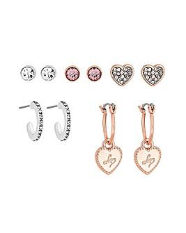 Lipsy Two Tone Heart Earrings Pack Of 5
