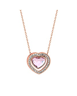 Jon Richard Rose Gold Dancing Heart Pendant Made With Swarovski Crystals