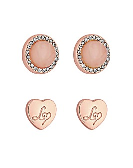 Lipsy Rose Gold Heart Earring 2 Pack