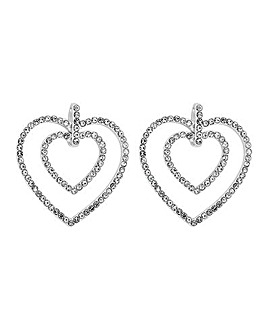 Lipsy Silver Plated Heart Earrings