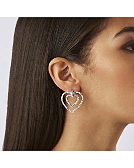 Lipsy Silver Plated Heart Earrings