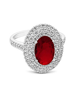 Jon Richard Red Pave Oval Cocktail Ring