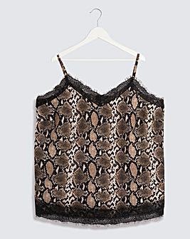 Snake Print Lace Trim Cami