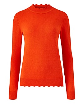Oasis Curve Mini Scallop Turtle Neck Jumper