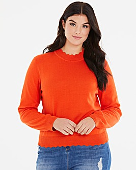 Oasis Curve Scallop Turtle Neck Jumper