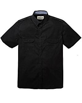 Jacamo Short Sleeve Black Military Shirt