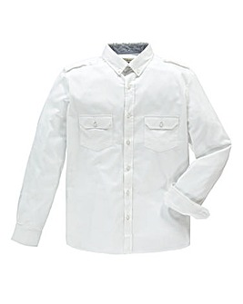 Jacamo Long Sleeve White Military Shirt Long