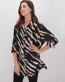 Zebra Print Long Oversized Shirt