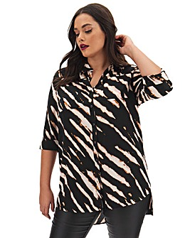 Zebra Print Long Oversized Shirt