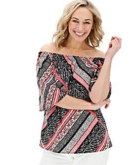 Pink Stripe 3/4 Sleeve Bardot
