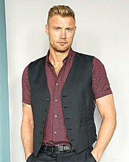 Flintoff By Jacamo Blue Black Waistcoat Regular
