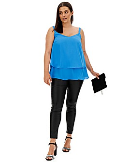 Blue Double Layer Strappy Cami