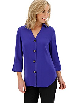 Blue Cut Out V-Neck Button Shirt