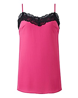 Pink/Black Contrast Lace Trim Cami