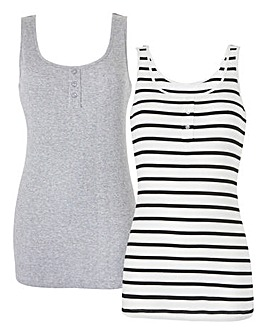 Pack of 2 Rib Jersey Vests