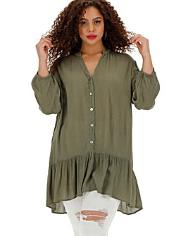 Khaki Crinkle Frill Hem Shirt