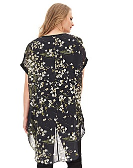 Black Floral Longline Dip Back Blouse