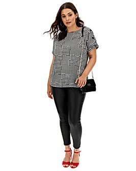 Mono Houndstooth Button Detail Boxy Top