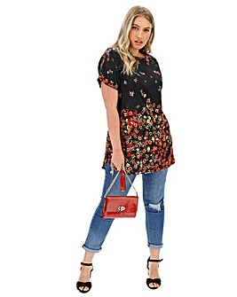 Black Floral Boxy Tunic