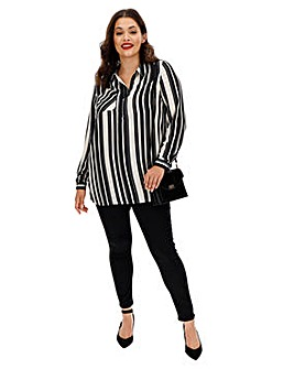 Mono Stripe Half Zip Front Tunic