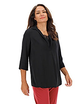 Black Shirt With Lace Insert