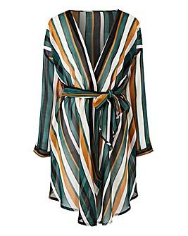 Green Stripe Sheer Tie Waist Kimono