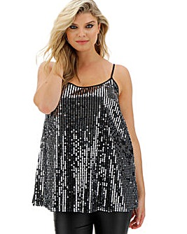 Black and Silver Sequin Strappy Cami Top
